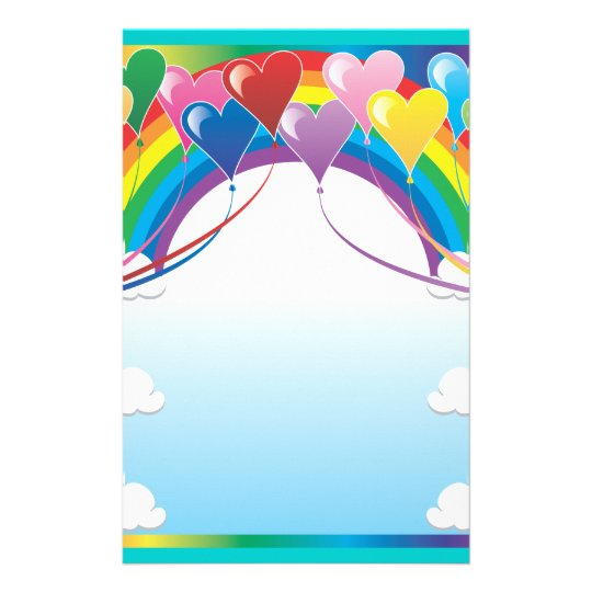 Heart Balloon Background Stationery