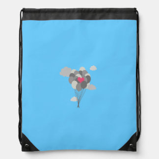 heart balloon between gray ballons drawstring backpack