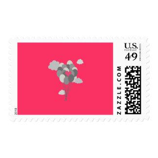 heart balloon between gray ballons stamp