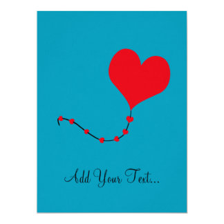 Heart Balloon Custom Invitations