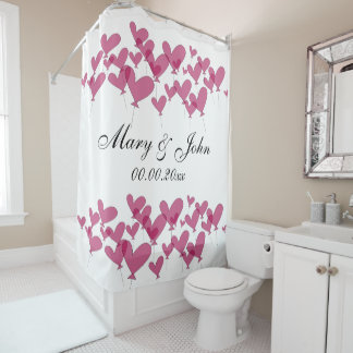 Heart balloon shower curtain for newlyweds couple