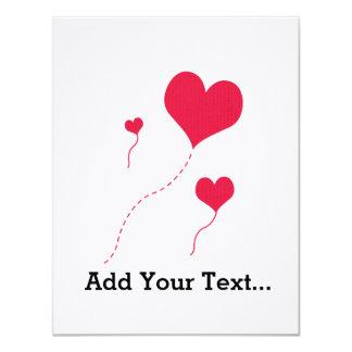 "Heart Balloons 4.25"" X 5.5"" Invitation Card"