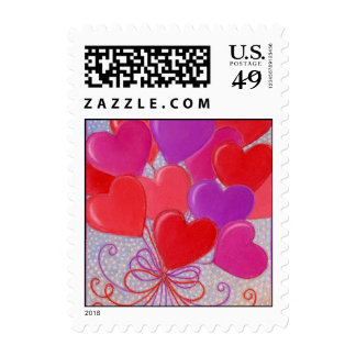 Heart Balloons Bouquet Postage Stamps