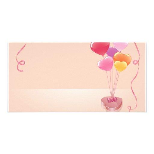 Heart balloons & chocolates photo card