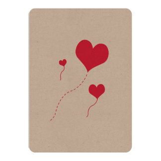 Heart Balloons Custom Invitations