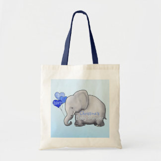 Heart Balloons Elephant Blue Baby Boy Shower Tote Bag