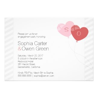 Heart Balloons Engagement Invitation