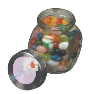 Heart Balloons Glass Candy Jar