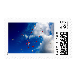 Heart Balloons in the Sky Valentine's Day Stamp