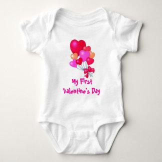 heart balloons, My First Valentine's Day Baby Bodysuit