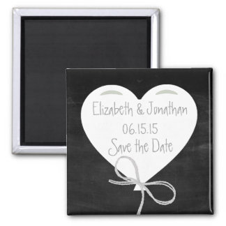 Heart Balloons on a Chalkboard Save the Date 2 Inch Square Magnet