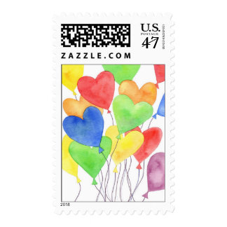 Heart Balloons Postage Stamp