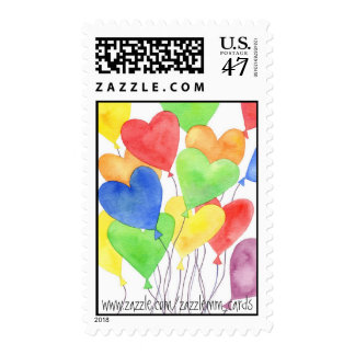 Heart Balloons - Postage Stamp