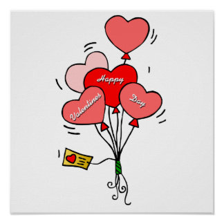 Heart Balloons Poster