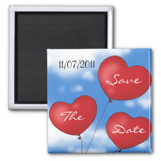 Heart balloons Save the date 2 Inch Square Magnet