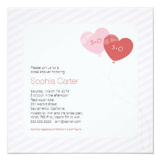 Heart Balloons Square Bridal Shower Invitation