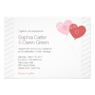 Heart Balloons Wedding Invitation
