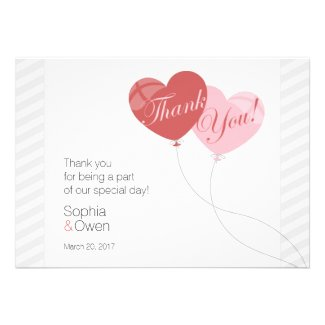 Heart Balloons Wedding Thank You Card