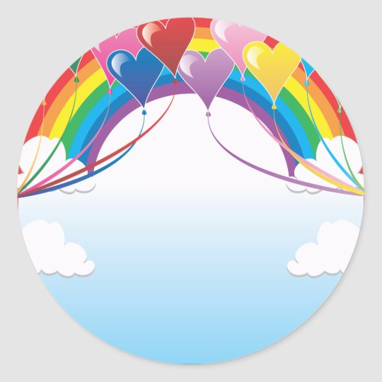 Heart Baloon Background Classic Round Sticker