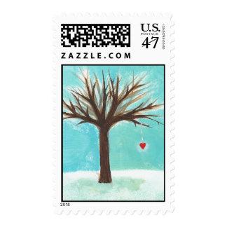 Heart bare tree sweet primitive Winter scene art Postage