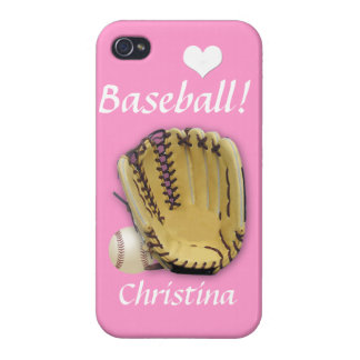 Heart Baseball-Baseball and Mitt-Pink/Personalize Cases For iPhone 4