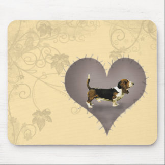 Heart Basset Hound Mouse Pad