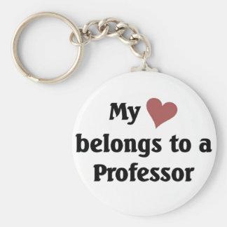Heart bbelongs to a professor keychain