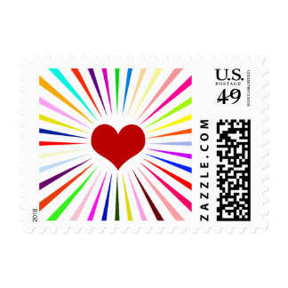Heart Beam on White Postage Stamps