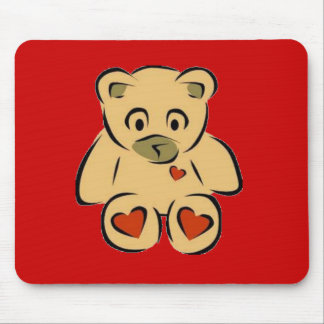 Heart bear mouse pad