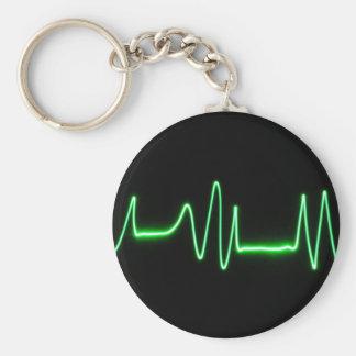 Heart Beat Basic Round Button Keychain
