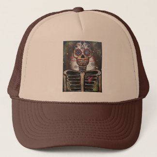 Heart Beat_ By Lori Everett_ Day Of The Dead Trucker Hat