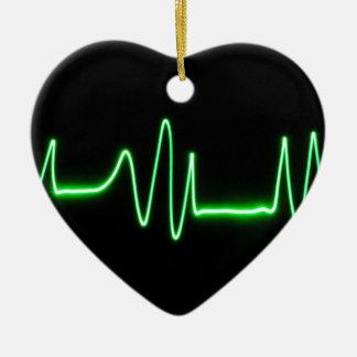 Heart Beat Ceramic Ornament