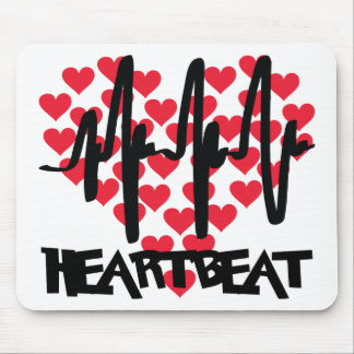 heart beat love hearts mouse pad