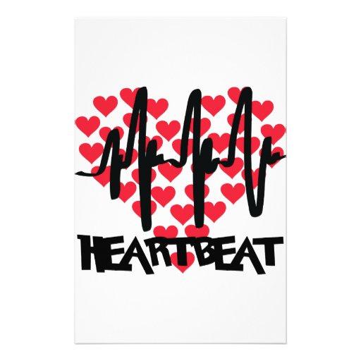 heart beat love hearts stationery paper
