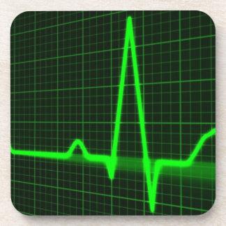Heart Beat Pulse Trace Beverage Coasters