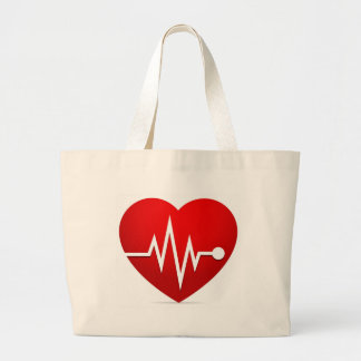 Heart Beat Rate Large Tote Bag