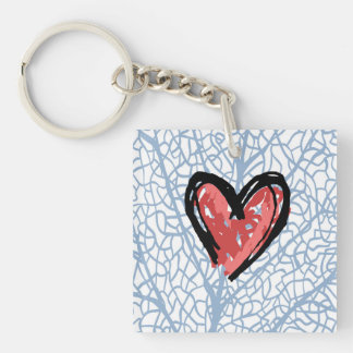 Heart beat Valentine's keychain square