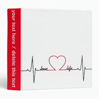 Heart beat with love life inspirational quote 3 ring binder