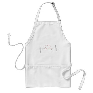 Heart beat with love life inspirational quote adult apron