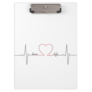 Heart beat with love life inspirational quote clipboard