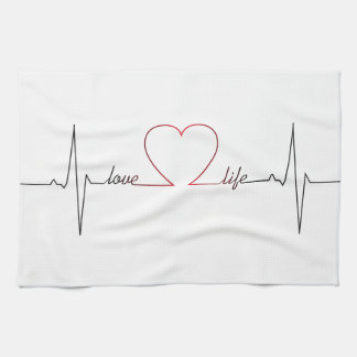 Heart beat with love life inspirational quote hand towel