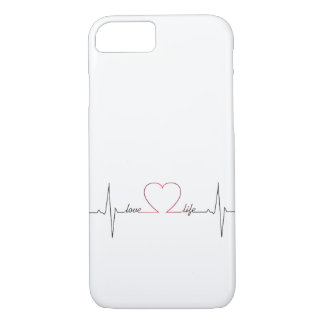 Heart beat with love life inspirational quote iPhone 8/7 case