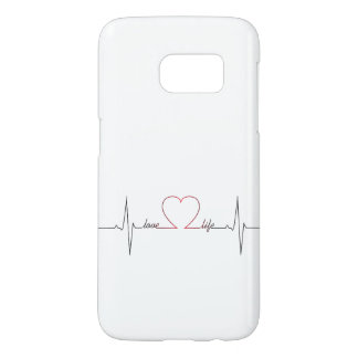 Heart beat with love life inspirational quote samsung galaxy s7 case