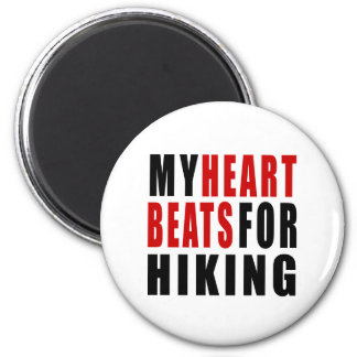 HEART BEATS FOR HIKING 2 INCH ROUND MAGNET