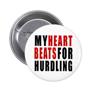 HEART BEATS FOR HURDLING 2 INCH ROUND BUTTON