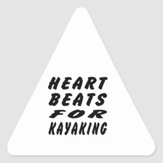 Heart Beats For Kayaking Triangle Stickers