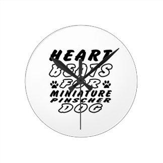 Heart Beats For Miniature Pinscher Wallclock