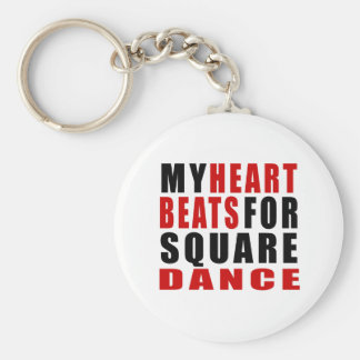 HEART BEATS FOR SQUARE DANCE BASIC ROUND BUTTON KEYCHAIN