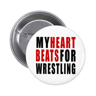 HEART BEATS FOR WRESTLING 2 INCH ROUND BUTTON