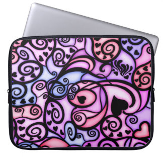 Heart Beats Singing, Stained Glass style Laptop Sleeve